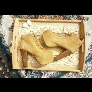Jeffery Campbell Lita Brown Suede Platform Boots